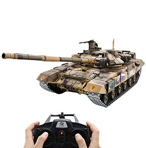 PeleusTech Remote Control Russian T90 Main Battle Tank Model Metal Military Tank Model with Sound Smoke Shooting Effect…