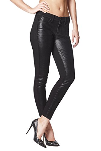 Nicole Miller New York SoHo Black High-Rise Faux Leather Lycra Skinny Jeans (Soho Leather Black)