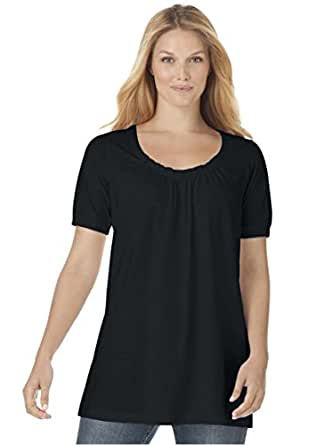 Women's Plus Size Shirred A-Line Tunic Black,1X