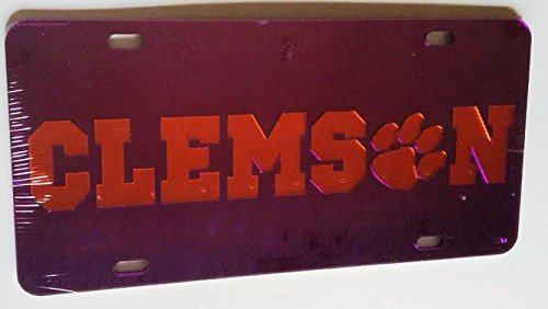 (Clemson Tigers Purple Mirrored Car Tag License)