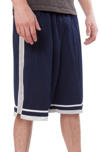 JJB Soccer - Basketball - Athletic Youth Short, Navy, White Silver Accents, Medium ()