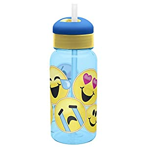 Zak Designs Zak! Designs Emojination Variety of Emoji Expressions on This Reusable Water Bottle with Flip Out Silicone Straw, 14 oz., Decorated