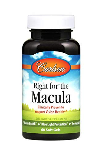 Gel 60 4mg - Carlson Right for The Macula, 1,000 mg DHA + 20 mg Lutein + 4 mg Zeaxanthin, with Lutemax 2020, 60 Soft Gels