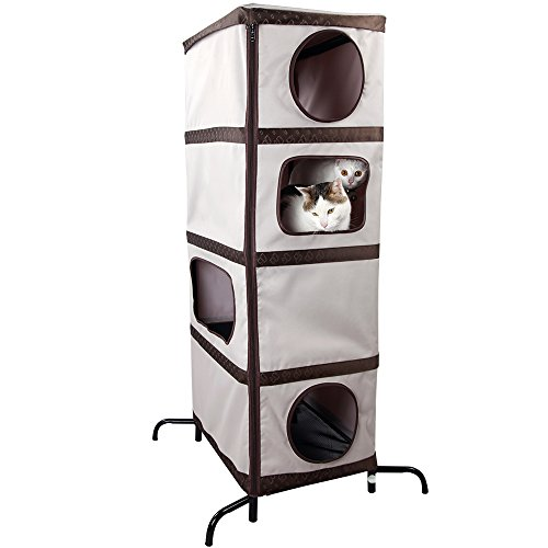 Four Level Cat House (Petsfit Fabric 4 Level Cat Tree for Multiple Cats, Hide Holes Inside for Climbing 21.8