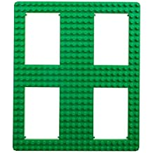 """Strictly Briks Classic Big Briks Baseplate with Gaps by 100% Compatible with All Major Brands   Large Pegs for Toddlers   13.75"""" x 16.25"""" Building Brick   Tight Fit Stackable Base Plate (Green)"""