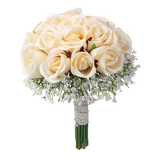(Wedding Brides Bouquet Artificial Rose Fake Silk Flower Simulation Floral for Home Bedroom Indoor Wedding Party Decor (C))