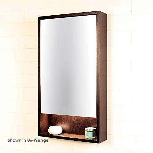 Surface-mount medicine cabinet with mirrored door, two adjustable glass shelves and LED lights in cubby. W: 19