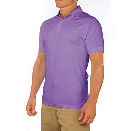 Comfortably Collared Men's Perfect Slim Fit Short Sleeve Soft Fitted Polo Shirt, Extra Large, Purple Heather