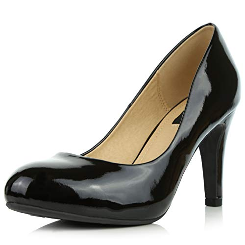 - DailyShoes Women's Comfortable Cushioned Slip On Low Heels Round Toe Dress Pumps Shoes, Black Patent Leather, 9 B(M) US