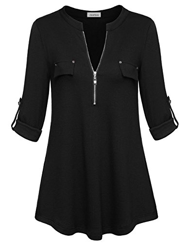 Sleeve V-neck Hardware - Women's Casual Long Sleeve Roll-Up Sleeve Zip Up V Neck Blouse Tops(Black XL)