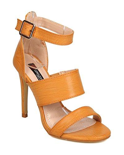 Dbdk Fa85 Femmes En Simili-cuir Bout Ouvert Triple Bande Sandales Stiletto Camel