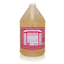 Dr. Bronner's Pure-Castile Liquid Soap - Rose, 1 Gallon 63 ROSE.  Floral and fresh, with a hint of sweetness - our Rose Pure-Castile Liquid Soap is concentrated, biodegradable, versatile and effective SMOOTH AND MOISTURIZING.  Dr. Bronner's Liquid Pure-Castile Soap offers organic and vegan ingredients for a rich, emollient lather and a moisturizing after feel. It uses organic hemp, olive, and coconut oil to nourish your clean, healthy skin NATURAL.  Smooth and luxurious soap with no synthetic detergents or preservatives, as none of the ingredients or organisms from which they are derived are genetically modified. Use on your hands, face, or hair, or dilute your soap for a multi-use cleaning product