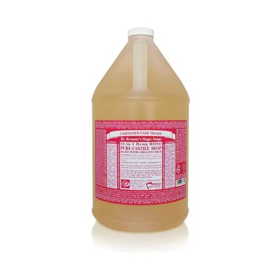 Dr. Bronner's - Pure-Castile Liquid Soap (Rose, 1 Gallon) - Made with Organic Oils, 18-in-1 Uses: Face, Body, Hair, Laundry, Pets and Dishes, Concentrated, Vegan, Non-GMO 1 MADE WITH ORGANIC OILS & CERTIFIED FAIR TRADE INGREDIENTS: Dr. Bronner's Pure-Castile Liquid Soaps are made with over 90% organic ingredients. Over 70% of ingredients are certified fair trade, meaning ethical working conditions & fair prices. GOOD FOR YOUR BODY & THE PLANET: Dr. Bronner's liquid soaps are fully biodegradable & use all-natural, vegan ingredients that pose no threat to the environment. Our products & ingredients are never tested on animals & are cruelty-free. NO SYNTHETIC PRESERVATIVES, DETERGENTS, OR FOAMING AGENTS: Our liquid soaps are made with plant-based ingredients you can pronounce-no synthetic preservatives, thickeners, or foaming agents-which is good for the environment & great for your skin!