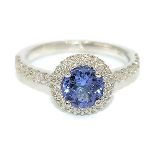 18k white gold Diamond Wedding Ring, Natural Tanzanite Engagement Ring, 62 Natural VS Diamonds and Tanzanite Ring, Engagement Diamond Ring (Ring Tanzanite White Gold Jewelry)