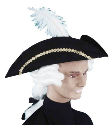 Forum Novelties Men's Colonial Man Costume Hat with Wig, Multi Colored, One Size (Wig Halloween Costume Mask)