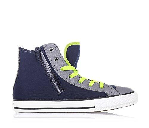 CONVERSE - Blauer und grauer Sneaker, aus Stoff und Leder, seitlich ein Reißverschluss, seitlich ein Logo, sichtbare Nähte und Gummisohle, Jungen