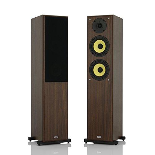 1 Paar Standlautsprecher mohr SL20 Lautsprecherboxen Nussbaum, wavecor Hochtöner, Kevlar Tieftöner, HiFi Standboxen