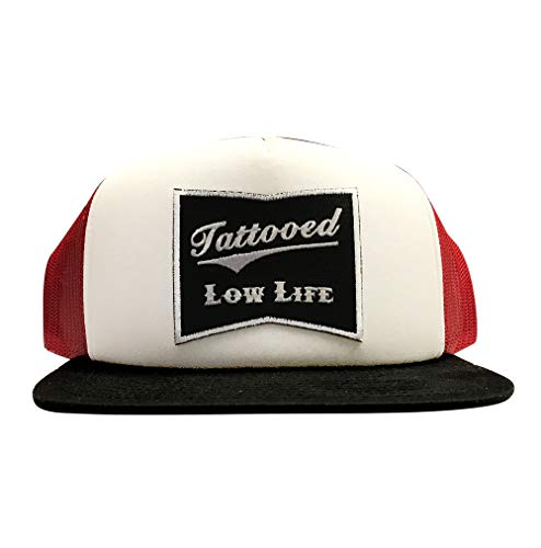 Cartel Ink OG Tattooed Low Life Trucker Hat w/Embroidered Patch (Red/White/Black)