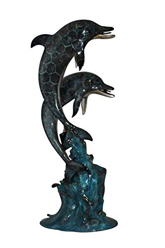 Dolphin Waterfall (Two Dolphins Fountain Bronze Statue - Size: 22