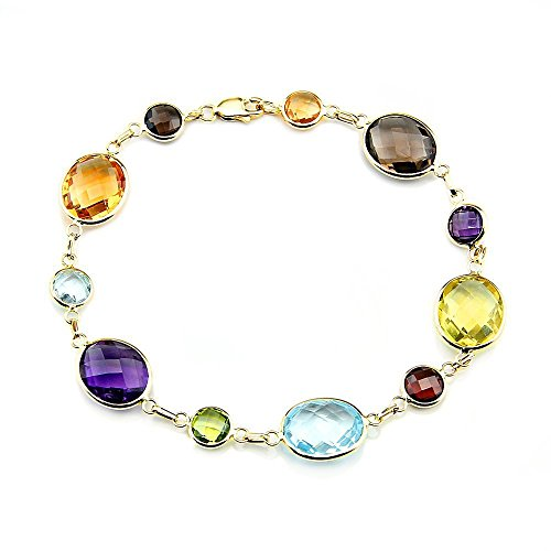 14K Yellow Gold Link Bracelet With Oval And Round Gemstone Stations