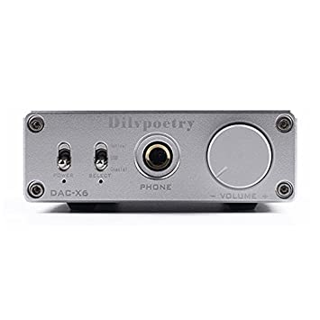 Dilvpoetry X6 DAC Headphone Amplifier 24bit/96kHz Optical/Coaxial/USB Digital Stereo Home Audio Power Amplifier Decoder (Silver) Dilvpoetry-DAC-X6-S