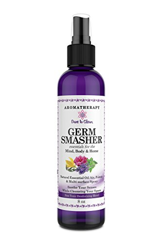 8oz Aromatherapy Air & Room Freshener Spray, Germ Smasher Linen spray odor fighter deodorizer Pure Therapeutic Grade Essential Oils All Natural HandBlended Antiviral Antibacterial Properties by Dare to Clean LLC