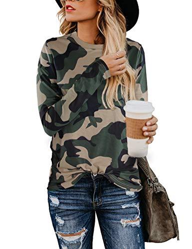 BMJL Women's Casual Cute Shirts Leopard Print Tops Basic Short Sleeve Soft Blouse (Small, Camo Print 03)