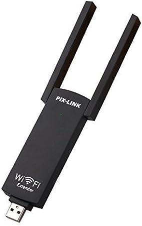 PIX-LINK WiFi Booster N300 USB Amplificador de alcance WiFi con antenas (UE02_Black)