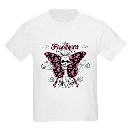 Royal Lion Kids Light T-Shirt Butterfly Skull Free Spirit Wild Child - White, Medium