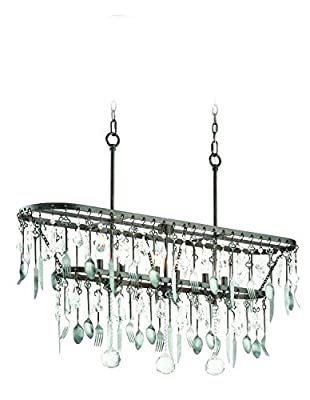 Troy Lighting Bistro 6-Light Pendant - Graphite Finish with Antique Pewter Flatware and Crystal Drops