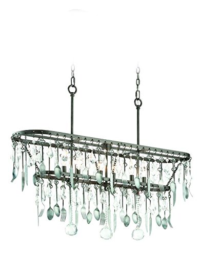 Troy Lighting Bistro 6-Light Pendant - Graphite Finish with Antique Pewter Flatware and Crystal Drops -