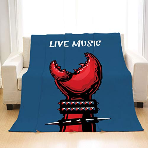 BEIVIVI Super Soft Warm Cozy Blanket Indie Crab Claw with Spiky Wristbands Heavy Rock Live Music Performance Inscription Art Decorative Blue Red Black Soft All Seasons Sleeping Blankets