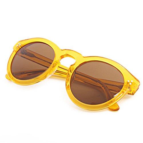 (SH013)Hourvun Round Unisex Polarized Sunglasses for Men Women,Transparent Yellow Fashion Trend Sunglasses (Transparent yellow, - Shell Tortoise Round Sunglasses