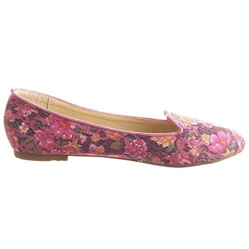 Sopily - damen Mode Schuhe Ballerina Fischnetz schuh Blumen - Schwarz