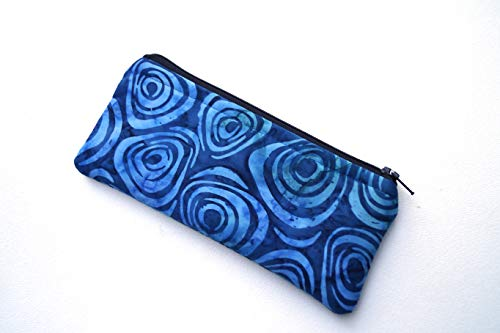 Batik Fabric Padded Glasses Case or Cosmetic Zipper Pouch in Blue Swirl Pattern