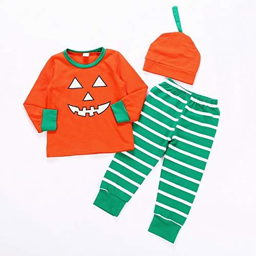 CAIBIET Toddler Baby Girls Boys Halloween Clothes Newborn Romper Pumpkin One Piece Pajamas Kid Pant Outfit Set (Toddler Girls Boys Outfit, 7-8T)]()