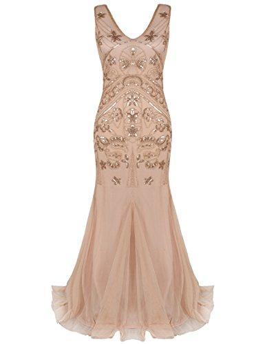 PrettyGuide Women's 1920s Long Ball Gown Bead Sequin Flapper Mermaid Prom Dress XL Rose Gold