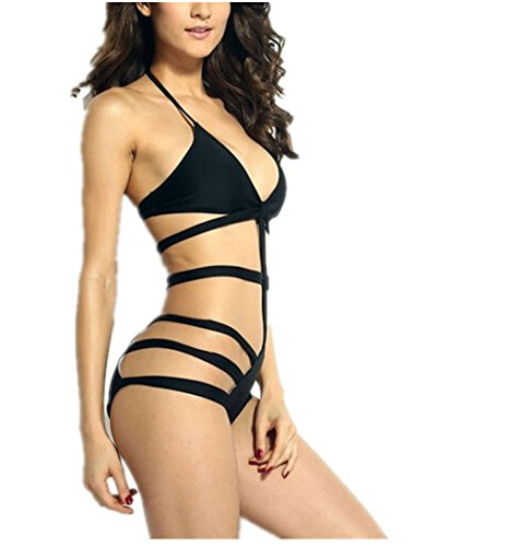 Colorfulworld Women's Strappy Halter Swimwear Bikini Cutout Monokini One Piece Swimsuit (L)