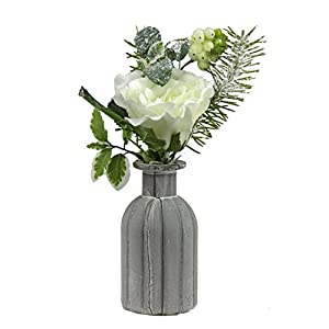 """Allstate 10.5"""" Frosted White Rose, Snow Berries and Pine Tree Needle Artificial Winter Floral Arrangement 83"""