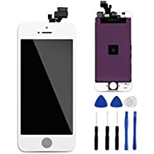 For iPhone 5 Screen Replacement Full HD IPS LCD Touch Screen Multi Touch Digitizer Frame Assembly Repair Kit Tool Set + Tempered Glass Screen Protector ( White )