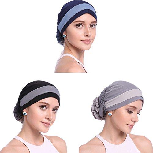 YI HENG MEI Women's Elegant Strench Flower Block Color Muslim Turban Chemo Cancer Cap,Pack of 3(Gray Black+Navy+Black) by YI HENG MEI