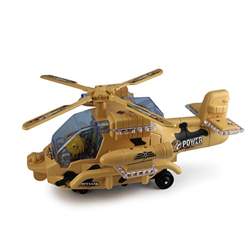 P&F Electronic Military Helicopter Toy Bump & Go Auto Action w/ Flashing Colorful LED Lights & Aircraft Engine Sounds