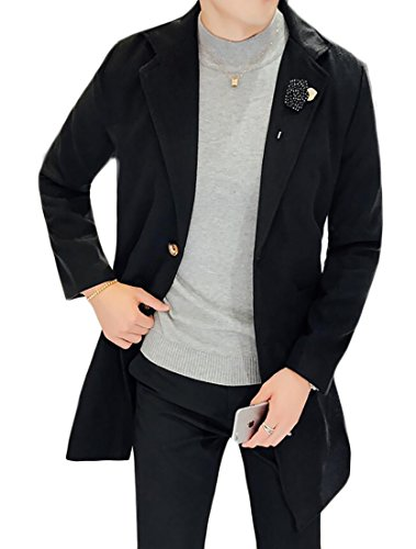 (SELX Mens Lapel Single-breasted Wool Blend Twill Trench Coat Black US S)