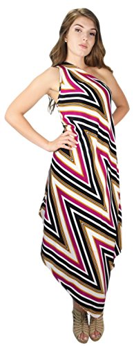 Peach Couture Retro Waves Versatile One Shoulder Asymmetrical Party Disco Dress (Large, Fuchsia)
