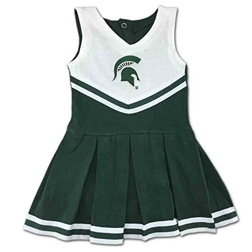 Michigan State University Spartans Baby and Toddler Cheerleader Bodysuit Dress Green]()