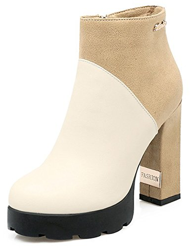 Women's Booties Zipper Round Toe Block High Side Sexy Heel Splicing Summerwhisper Platform Beige Ankle Sp7dwS