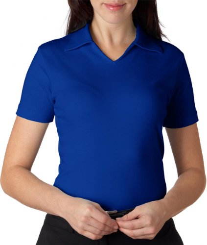 UltraClub® Ladies' Egyptian Interlock V-Neck Polo - Royal - XS (Ladies Egyptian Interlock Polo)