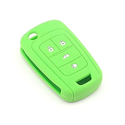 iSaddle Silicone Protecting Vehicle Remote Start Key Case Cover Fob Holder for Chevrolet Camaro Cruze Equinox Malibu Orlando Sonic (Green Color): Car Electronics