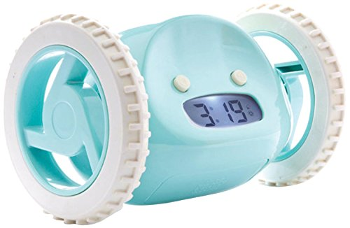 Clocky Alarm Clock on Wheels, Aqua
