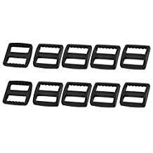 uxcell® Plastic Suitcase Bag Webbing Strap Rectangle Connecting Tri Glide Buckles 10pcs Black